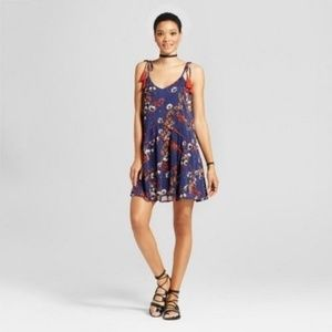 NWT Mossimo Navy Printed Piped Dress with Tassles